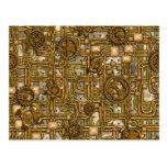 El panel de Steampunk - engranajes y tubos - latón Tarjetas Postales