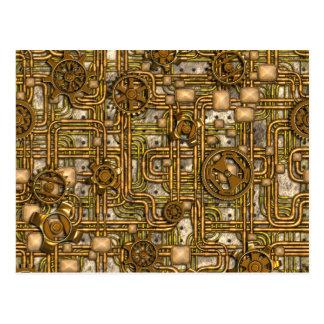 El panel de Steampunk - engranajes y tubos - latón Postales
