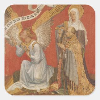 El panel de una díptica que representa el ángel pegatina cuadrada