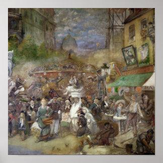 El panel decorativo que representa París Póster