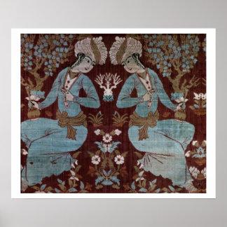 El panel del estilo de Isfahán, persa, siglo XVII  Posters