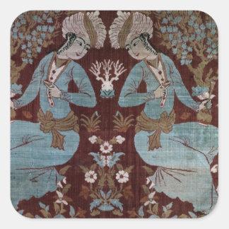 El panel del estilo de Isfahán, persa, siglo XVII Calcomanía Cuadrada