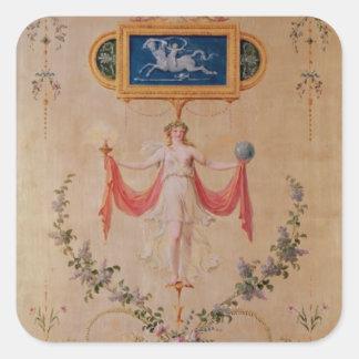 El panel del gabinete de señora de Marie-Antonieta Pegatina Cuadrada
