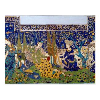 El panel del teja-work esmaltado de la loza de bar tarjeta postal