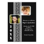 El panel elegante - la fiesta de graduación negra invitación 12,7 x 17,8 cm