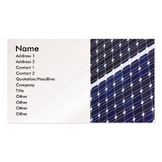 El panel solar, nombre, dirección 1, dirección 2,  tarjeta de negocio