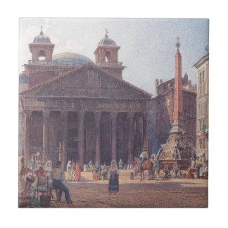El panteón y el della Rotonda de la plaza en Roma Azulejo Cuadrado Pequeño
