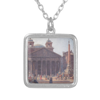 El panteón y el della Rotonda de la plaza en Roma Colgante Cuadrado