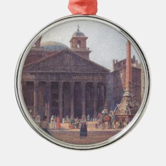 El panteón y el della Rotonda de la plaza en Roma Adorno Redondo Plateado
