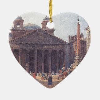 El panteón y el della Rotonda de la plaza en Roma Adorno De Cerámica En Forma De Corazón