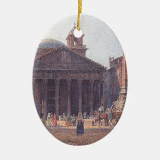 El panteón y el della Rotonda de la plaza en Roma Adorno Ovalado De Cerámica