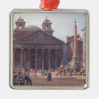El panteón y el della Rotonda de la plaza en Roma Adorno Cuadrado Plateado