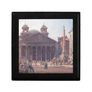 El panteón y el della Rotonda de la plaza en Roma Joyero Cuadrado Pequeño