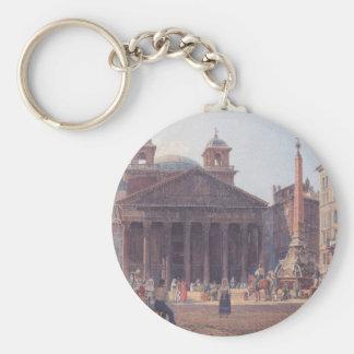El panteón y el della Rotonda de la plaza en Roma Llavero Redondo Tipo Pin