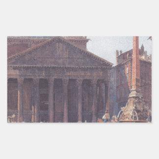 El panteón y el della Rotonda de la plaza en Roma Pegatina Rectangular