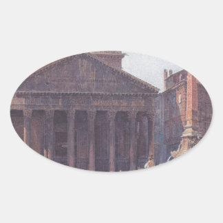 El panteón y el della Rotonda de la plaza en Roma Pegatina Ovalada