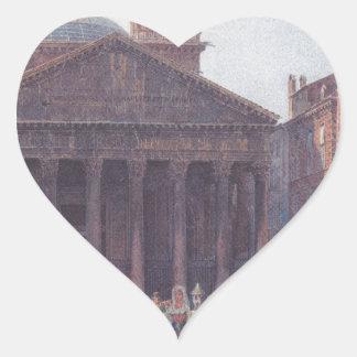 El panteón y el della Rotonda de la plaza en Roma Pegatina En Forma De Corazón