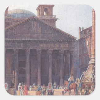 El panteón y el della Rotonda de la plaza en Roma Pegatina Cuadrada