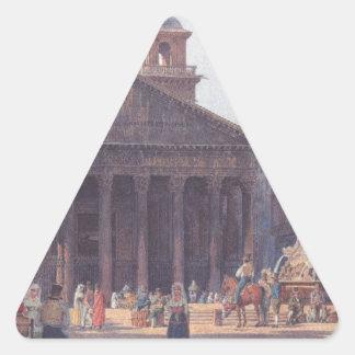 El panteón y el della Rotonda de la plaza en Roma Pegatina Triangular