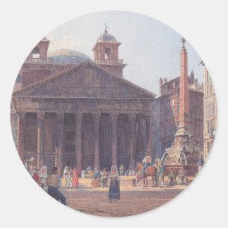 El panteón y el della Rotonda de la plaza en Roma Pegatina Redonda