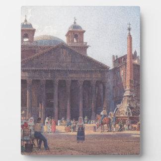 El panteón y el della Rotonda de la plaza en Roma Placa