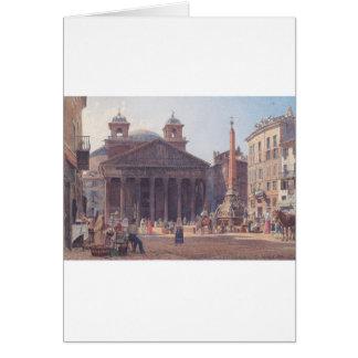 El panteón y el della Rotonda de la plaza en Roma Tarjeta De Felicitación
