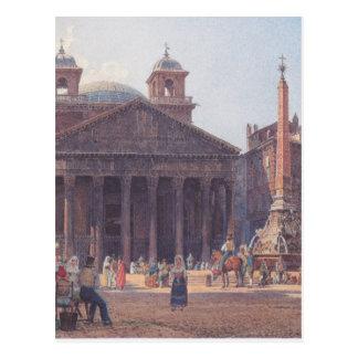 El panteón y el della Rotonda de la plaza en Roma Postal
