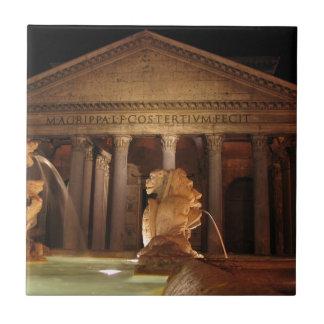 El panteón y el Fontana del Pantheon en Roma Azulejo Cuadrado Pequeño