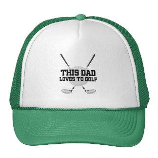 El papá ama el gorra del regalo del golf