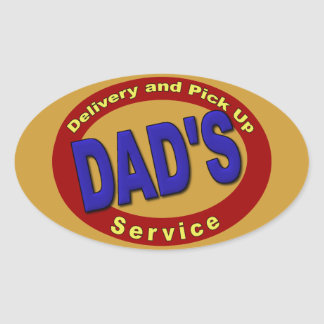 El papá coge y servicio de entrega pegatina ovalada