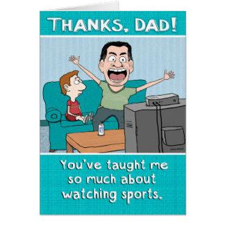 El papá divertido se divierte el día de padre de tarjeta de felicitación