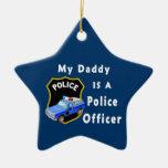 El papá es oficial de policía adorno navideño de cerámica en forma de estrella