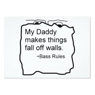 El papá hace caída de las cosas de reglas del bajo invitación 12,7 x 17,8 cm