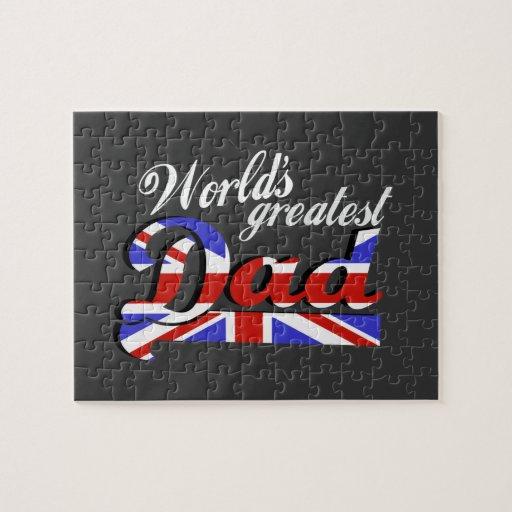 El papá más grande del mundo con la bandera britán rompecabeza