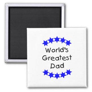 El papá más grande del mundo (estrellas azules) imán cuadrado