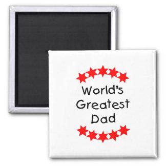 El papá más grande del mundo (estrellas del rojo) imán cuadrado