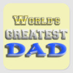 El papá más grande del mundo pegatina cuadrada