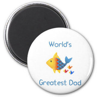El papá más grande del mundo (pescados) imán redondo 5 cm