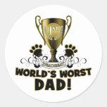 El papá peor del mundo pegatina redonda