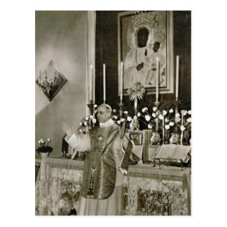 El papa Pío XII, decir masa Postal