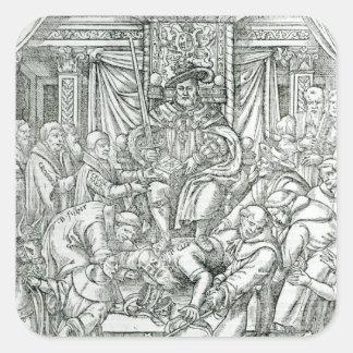 El papa suprimido por el rey Enrique VIII, 1534 Pegatina Cuadrada
