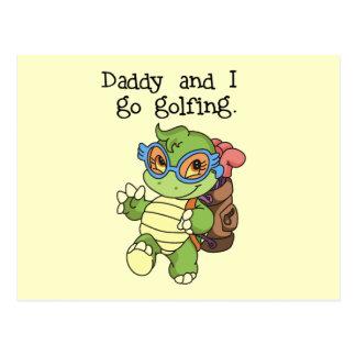 El papá y yo de la tortuga vamos a Golfing las Postal