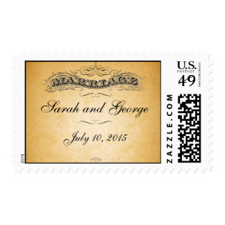 El papel antiguo remolina franqueo del boda del timbre postal