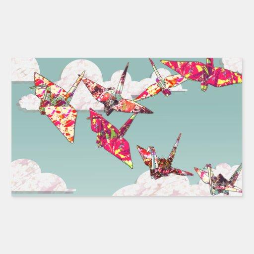El papel Cranes a los pegatinas rectangulares Pegatina Rectangular