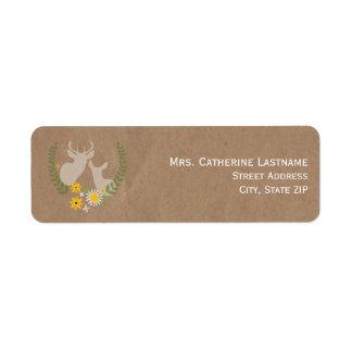 El papel de Brown inspiró etiquetas del Wildflower Etiquetas De Remite