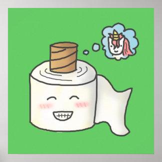 El papel higiénico divertido lindo que lo soña es póster