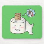 El papel higiénico divertido lindo que lo soña es tapete de ratones