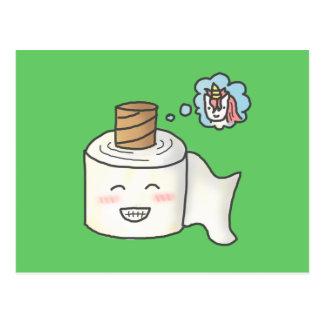 El papel higiénico divertido lindo que lo soña es tarjetas postales