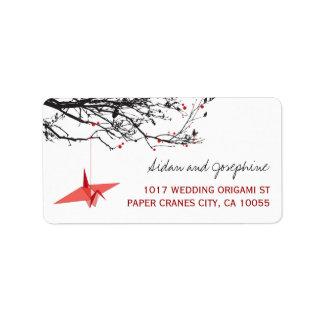 El papel oriental Cranes etiquetas del boda del Etiquetas De Dirección