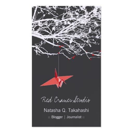 El papel rojo japonés de Origami Cranes el árbol d Tarjetas De Visita